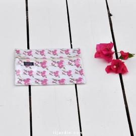 Pochette indispensable Tissu bougainvillier